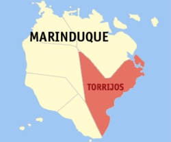 Map of Marinduque with Torrijos highlighted