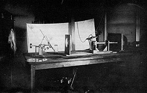 Volta Laboratory and Bureau - A rare 1884 laboratory photo showing the experimental recording of voice patterns by a photographic process. (Smithsonian photo No. 44312-E)