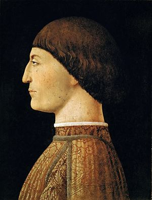 Italian Renaissance - Pandolfo Malatesta (1417–1468), lord of Rimini, by Piero della Francesca. Malatesta was a capable condottiere, following the tradition of his family. He was hired by the Venetians to fight against the Turks (unsuccessfully) in 1465, and was patron of Leone Battista Alberti, whose Tempio Malatestiano at Rimini is one of the first entirely classical buildings of the Renaissance.