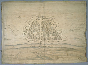 Ticinum - Image: Plan de la ville et des fortifications de Pavie, XVI Ie siècle