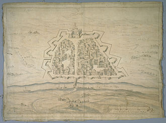 Ticinum - 17th-century drawing of the street layout and fortifications of the town of Pavia