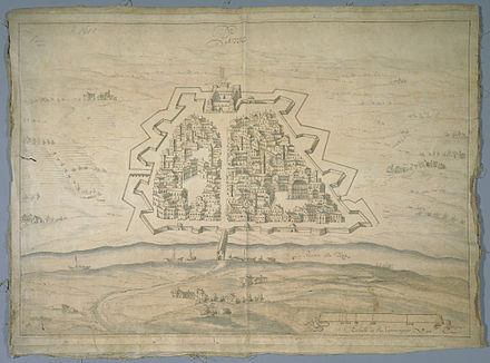 17th-century drawing of the street layout and fortifications of the town of Pavia Plan de la ville et des fortifications de Pavie, XVIIe siecle.jpg