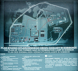 "Sobibór extermination camp - Map of Sobibór. The ""Road to Heaven"": centre, vertical, with gas chambers at the end of it (top-right turn, horizontal slant). The burial, cremation and ash pits further right, at the edge of the woods"
