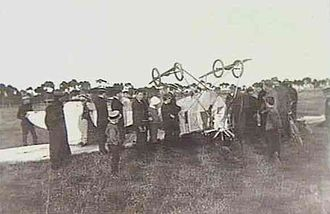 Air-tractor sledge - The wreckage of the plane after it crashed at Cheltenham Racecourse in Adelaide