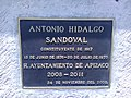Plaque of Antonio Hidalgo Sandoval sculpture in Apizaco, Tlaxcala.jpg