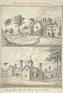 Plas yn Llan and Llan Gynhafel Church ; Plas yn Rhos, property of Wynne Esq, near Ruthin, 1793.jpg