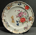 Plate with Floral Design, c. 1765, Nymphenburg, hard-paste porcelain, coloured enamels - Gardiner Museum, Toronto - DSC00934.JPG