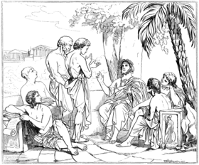 Plato in his academy, drawing after a painting by Swedish painter Carl Johan Wahlbom (Source: Wikimedia)