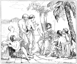 Plato in his academy, drawing after a painting by Swedish painter Carl Johan Wahlbom