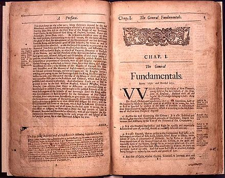The Book of the General Laws of the Inhabitants of the Jurisdiction of New-Plimouth, Boston, by Samuel Green, 1685 Plymouth law book.jpg