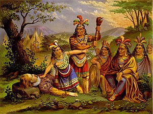 Pocahontas - In this chromolithograph credited to the New England Chromo. Lith. Company, around 1870, Pocahontas saves the life of John Smith. The scene is idealized and relies on stereotypes of Native Americans rather than reliable information about the particulars of this historical moment. There are no mountains in Tidewater Virginia, for example, and the Powhatans lived not in tipis but in thatched houses. And the scene that Smith famously described in his Generall Historie (1624) did not take place outdoors but in a longhouse.