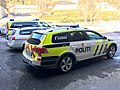 Police cars politibiler Volkswagen Passat patruljebil Mercedes-Benz Vito Fargernes lensmannskontor Jernbanevegen Nord-Aurdal Valdres Norway 2017-03-27 IMG 2171.jpg