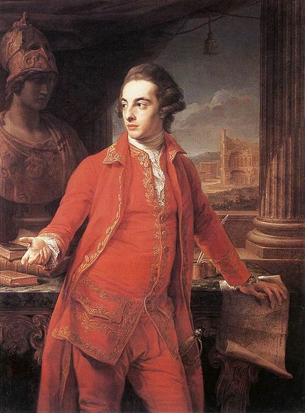 portrait of Sir Gregory Page-Turner in a red suit, being stared at by a bust of Pallas Athena