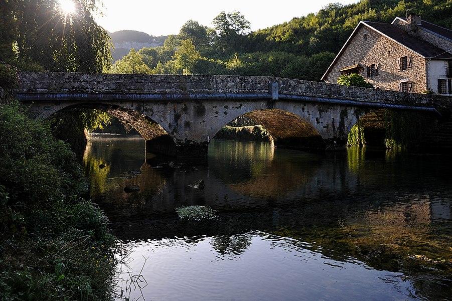Bridge over the Loue in Mouthier-Haute-Pierre; Doubs, France.