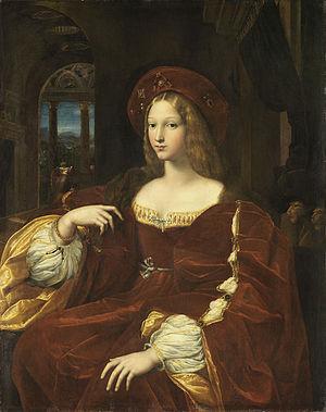 Duchy of Alvito - Isabella de Requesens, regent of Alvito for her son Ferrante. Portrait by Raphael and Giulio Romano, c.1518, now in the Louvre.