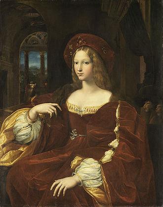 Giovanna d'Aragona - Raphael and Giulio Romano, Portrait of Doña Isabel de Requesens y Enriquez de Cardona-Anglesola, previously thought to be of Giovanna d'Aragona