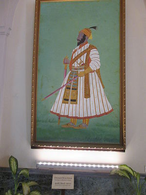 Chhatrapati Shivaji Maharaj Vastu Sangrahalaya - A portrait of Shivaji at the entrance of the museum