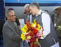 Pranab Mukherjee being received by the Governor of Jammu and Kashmir, Shri N. N. Vohra and the Chief Minister of Jammu and Kashmir, Shri Omar Abdullah, at Srinagar Airport, Jammu & Kashmir on September 26, 2012.jpg