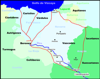 Basque dialects - The pre-Roman tribal boundaries in the general area of the modern-day Basque Country.