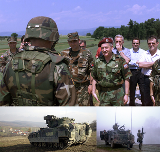 Insurgency in the Preševo Valley - Clockwise: Kenneth Quinlan, Ninoslav Krstić and Nebojša Čović before Serb forces entered Ground Safety Zone; KFOR patrols near Serbian border searching for illegal arms and rebels