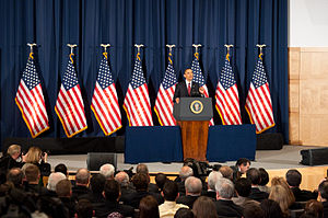Operation Odyssey Dawn - President Barack Obama speaking on the military intervention in Libya at the National Defense University, March 28, 2011