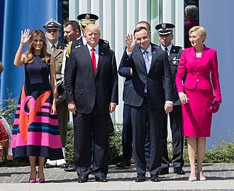 Andrzej Duda - Duda and his wife  Agata Kornhauser with U.S. President Donald Trump and Melania Trump  in Warsaw