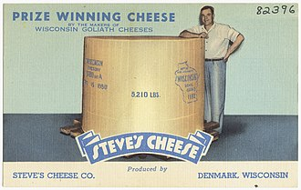 Wisconsin cheese - Image: Prize winning cheese by the makers of Wisconsin Goliath Cheeses, Steves Cheese produced by Steves Cheese Co., Denmark, Wisconsin
