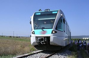 A Stadler GTW 2/6 DMU on the Inoi-Tanagra/HAI ...