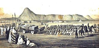 Nimrud - 1849 sketch of Layard's expedition transporting a Lamassu