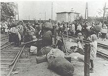 Wysiedleńcy na bocznicy kolejowej przy obozie przejściowym Dulag 121