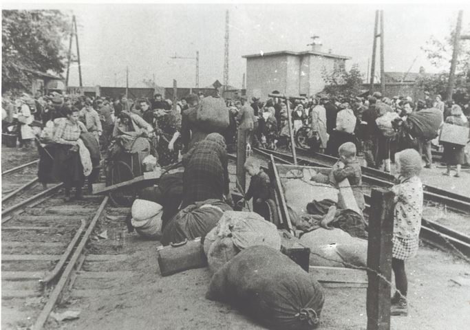 Pruszkow Transit Camps refugees on siding