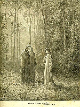 Pia de' Tolomei - Dante, Virgil and Pia de Tolomei by Gustave Doré.