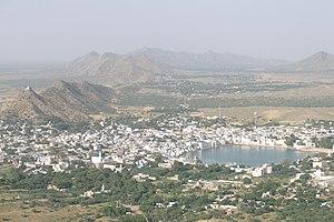 Pushkar Lake - Pushkar city and lake, viewed from hill above