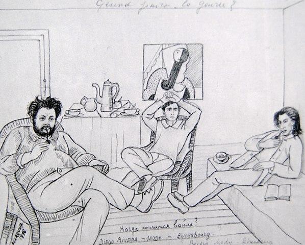 Когда закончится война?Рисунок Маревны, 1916, Париж.Слева направо — Ривера, Модильяни, Эренбург