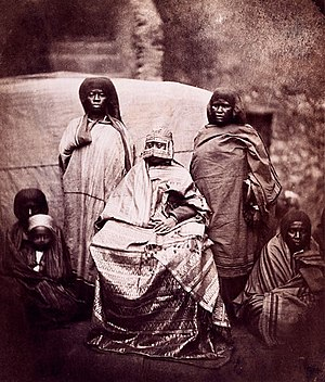 Comoro Islands - Jumbe-Souli, queen of the Comorian island of Mohéli, receiving a French delegation, 1863.