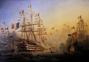 French ship Bretagne (1855) - Bretagne saluting Queen Victoria in Cherbourg. Painting by Léon Morel-Fatio.