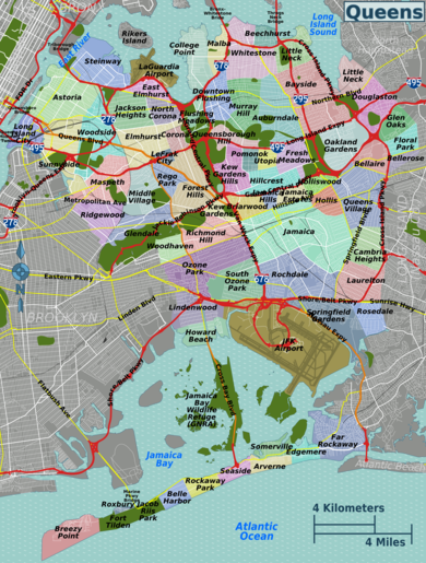 List of Queens neighborhoods - Wikipedia Queens County Map on