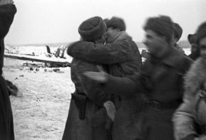 2nd Shock Army - Meeting of the 2nd Shock Army and the 67th Army in January 1943 during Operation Iskra