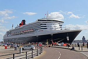 Port of Liverpool - Queen Mary 2 at the Liverpool Cruise Terminal, 2015.