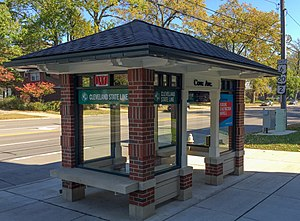 RTA Rapid Transit - A typical station along Clifton Boulevard on The Cleveland State Line Bus Rapid Transit