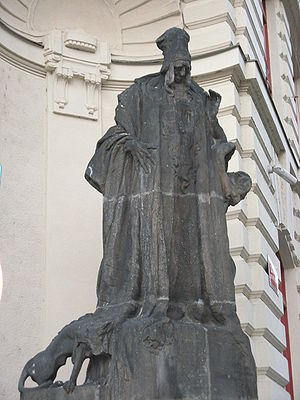 Golem - Rabbi Loew statue at the new town hall of Prague