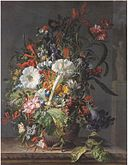 Rachel Ruysch - Honeysuckle, Sweet Peas, Trumpet Lilies, Peonies, Hyacinths, Passion and other Flowers, a Pineapple and a Cactus in an Boettger Urn with Butterfly on a marble Ledge d185756x.jpg