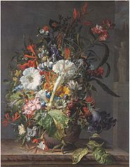 Still Life of Exotic Flowers on a Marble Ledge