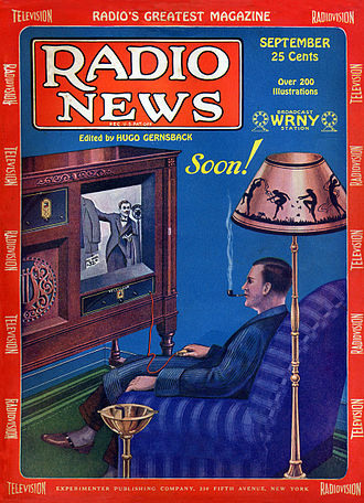 Television was still in its experimental phase in 1928, but the medium's potential to sell goods was already predicted. Radio News Sep 1928 Cover.jpg