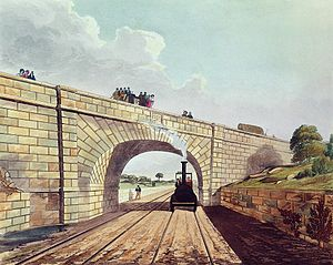Rainhill - Skew Bridge. Coloured engraving from 1831