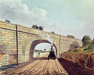 Rainhill - Skew Bridge. Coloured engraving from 1831
