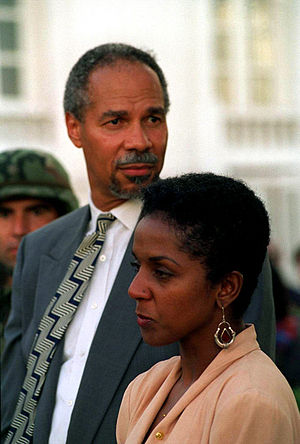 Norfolk State University - A photo of Randall Robinson and his wife in Haiti in 1994 at the inauguration ceremony of President Jean-Bertrand Aristide.