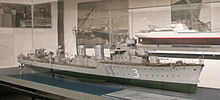 a photograph of a model of a destroyer