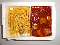 Ready to eat microwave food (TV dinner) Currywurst with French fries.JPG