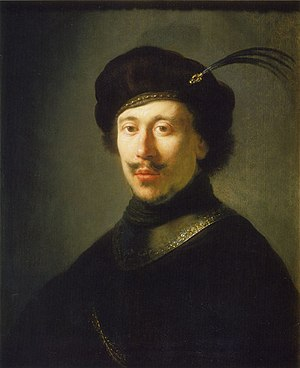 Bust of a Man Wearing a Gorget and Plumed Beret - Image: Rembrandt Bust of a Young Man in Plumed Beret